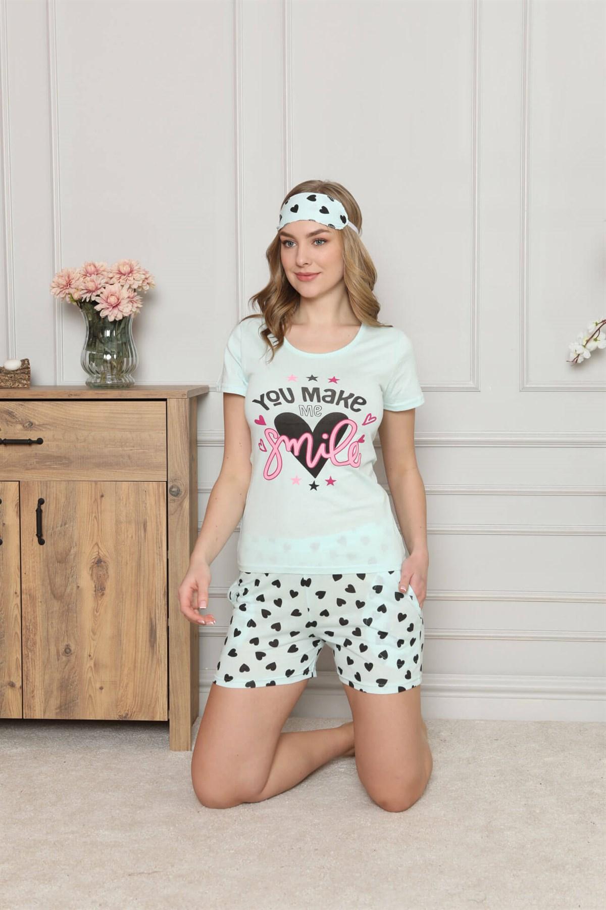 Moda Çizgi Kadın %100 Pamuk Penye Kısa Kol Şortlu Pijama Takım 4323
