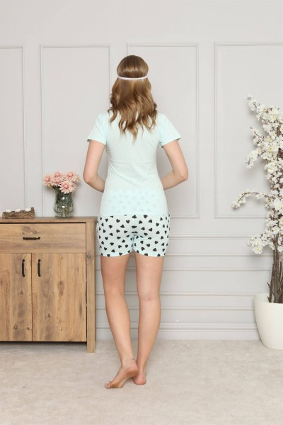 Moda Çizgi Kadın %100 Pamuk Penye Kısa Kol Şortlu Pijama Takım 4323 - Thumbnail