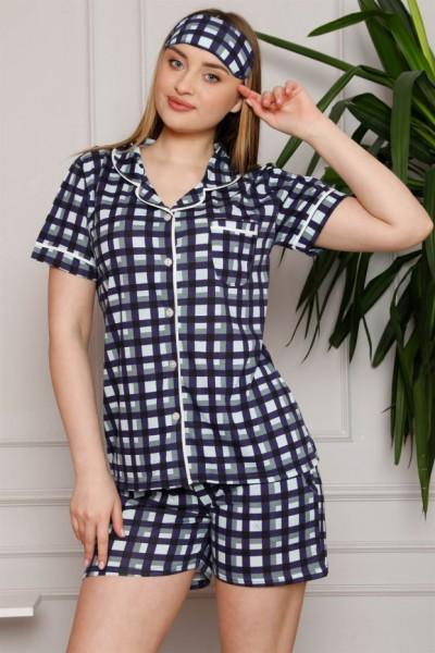 Moda Çizgi - Moda Çizgi Kadın %100 Pamuk Penye Kısa Kol Şortlu Pijama Takım 4331