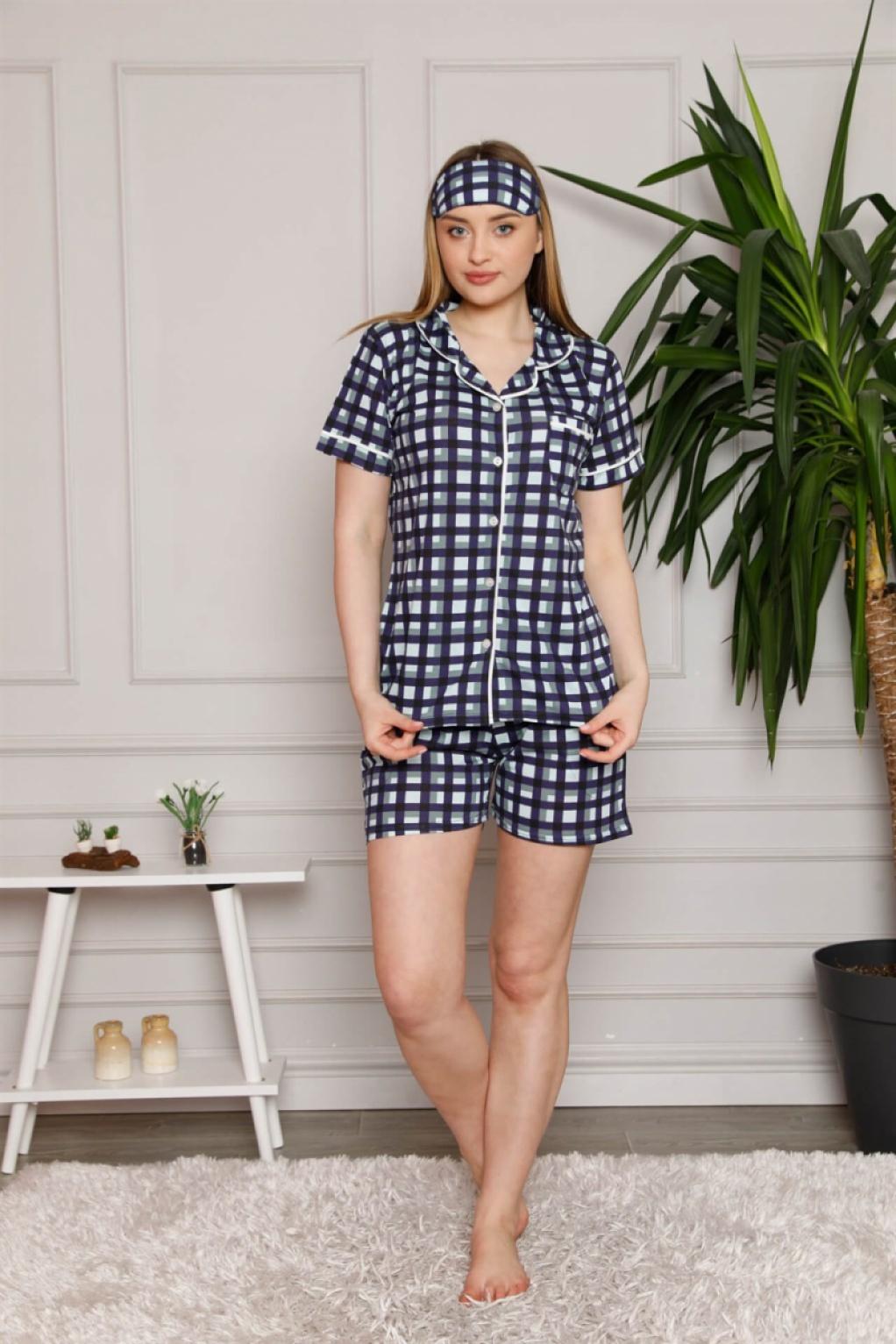 Moda Çizgi Kadın %100 Pamuk Penye Kısa Kol Şortlu Pijama Takım 4331