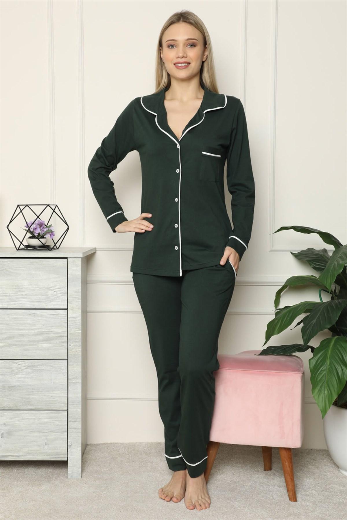 Moda Çizgi Kadın %100 Pamuk Penye Önden Düğmeli Uzun Kol Pijama Takım 2715