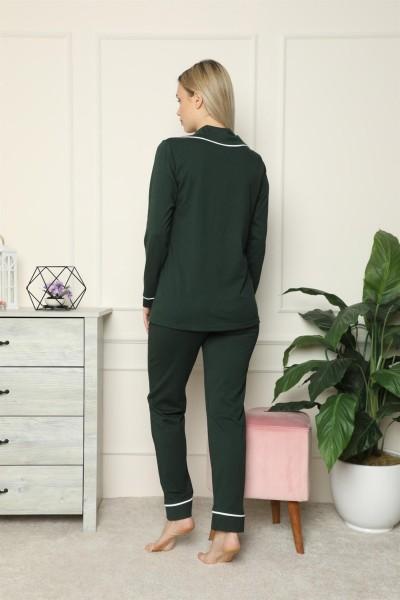 Moda Çizgi Kadın %100 Pamuk Penye Önden Düğmeli Uzun Kol Pijama Takım 2715 - Thumbnail