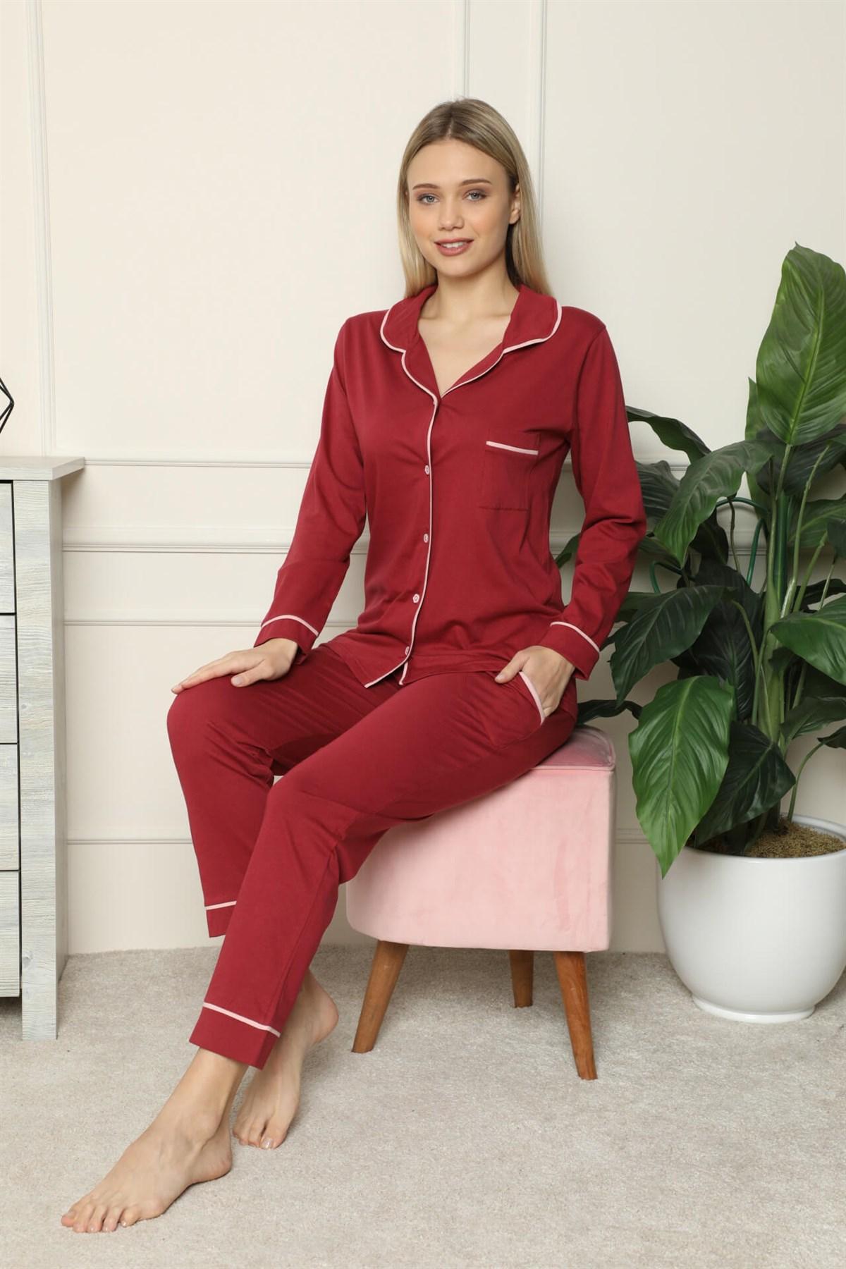 Moda Çizgi Kadın %100 Pamuk Penye Önden Düğmeli Uzun Kol Pijama Takım 2716