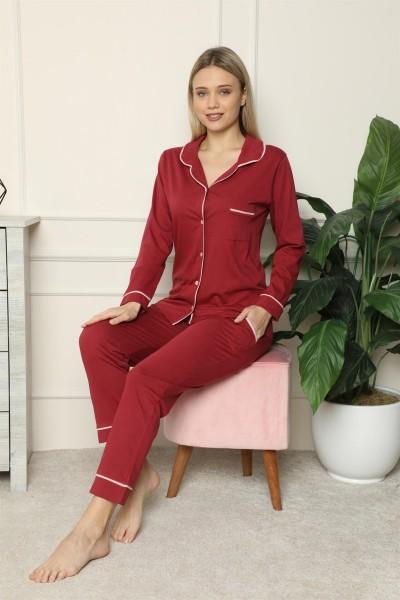 Moda Çizgi Kadın %100 Pamuk Penye Önden Düğmeli Uzun Kol Pijama Takım 2716 - Thumbnail