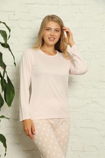 Moda Çizgi - Moda Çizgi Kadın %100 Pamuk Penye Uzun Kol Pijama Takım 3416