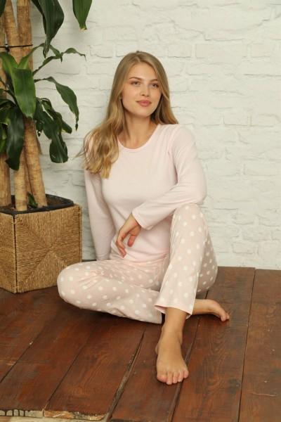 Moda Çizgi Kadın %100 Pamuk Penye Uzun Kol Pijama Takım 3416 - Thumbnail
