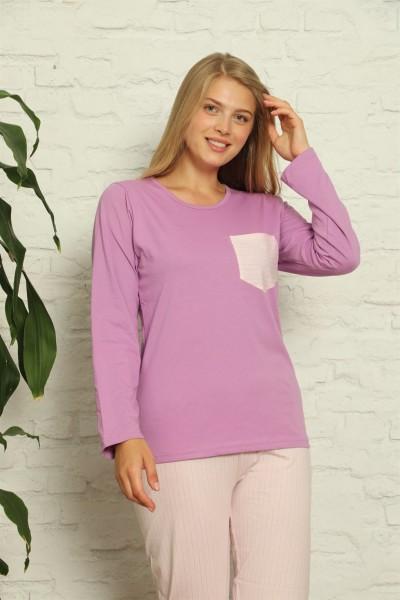 Moda Çizgi - Moda Çizgi Kadın %100 Pamuk Penye Uzun Kol Pijama Takım 3421
