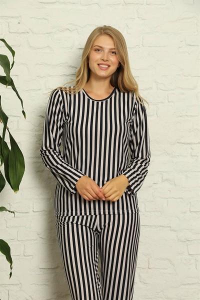 Moda Çizgi - Moda Çizgi Kadın %100 Pamuk Penye Uzun Kol Pijama Takım 3424