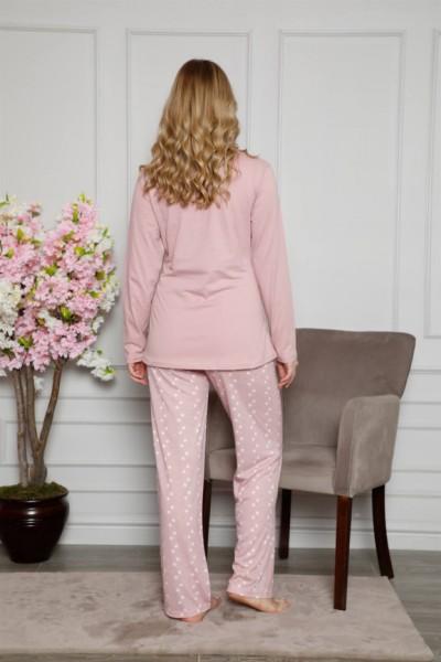 Moda Çizgi Kadın %100 Pamuklu Hamile Pijama Takımı 4515 - Thumbnail