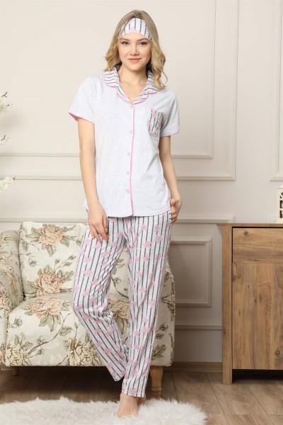 Moda Çizgi - Moda Çizgi Kadın Gri Pamuklu Düğmeli Cepli Kısa Kol Pijama Takım 2542