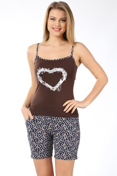 Moda Çizgi - Moda Çizgi Kadın İp Askılı Kahve Cep Şortlu Pijama Takımı 787