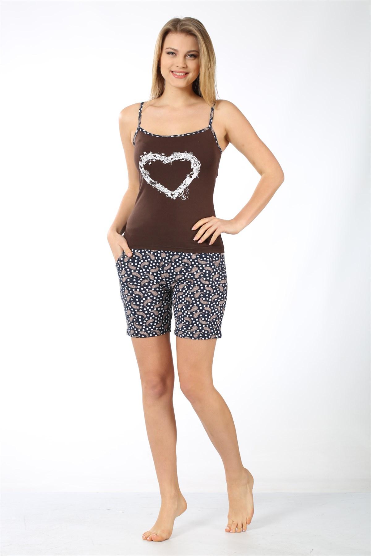 Moda Çizgi Kadın İp Askılı Kahve Cep Şortlu Pijama Takımı 787