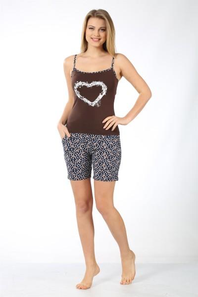 Moda Çizgi Kadın İp Askılı Kahve Cep Şortlu Pijama Takımı 787 - Thumbnail