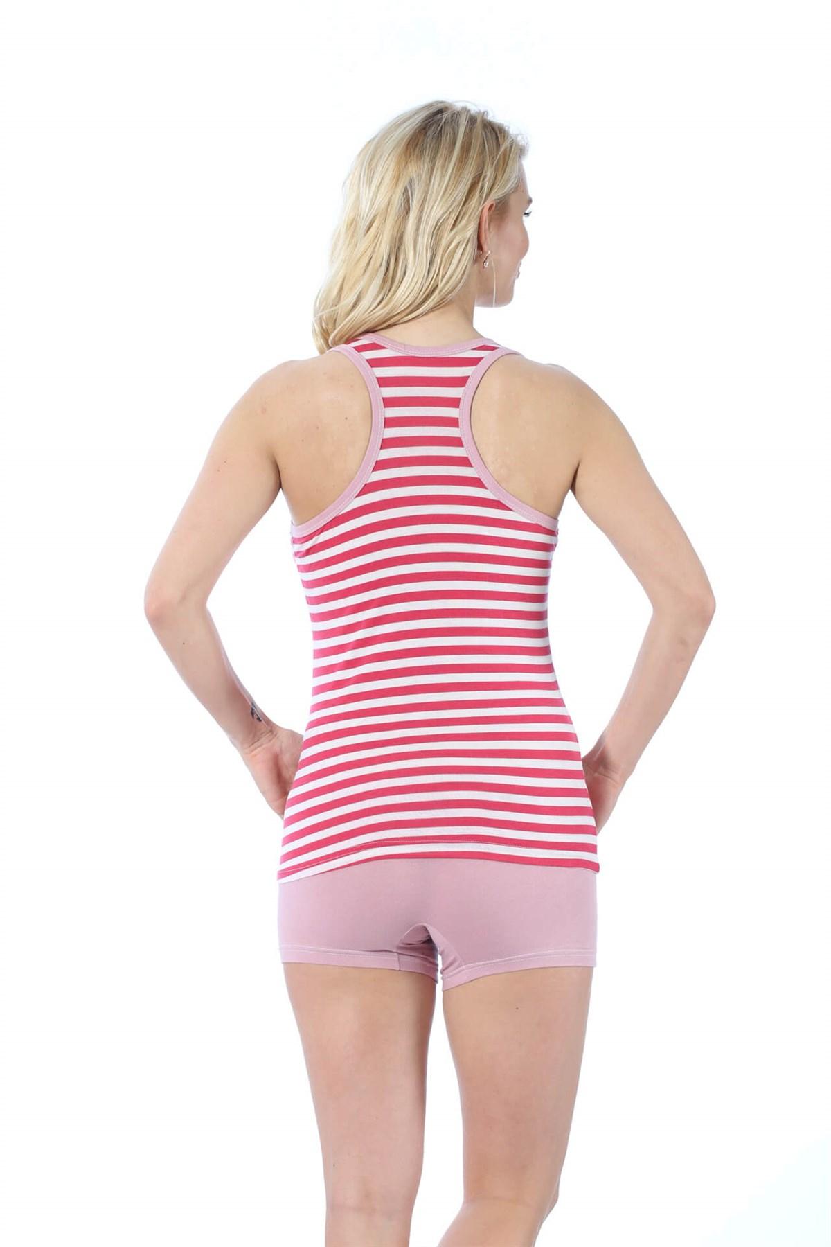 Moda Çizgi Kadın Kalın Askılı Mercan Beyaz Renkli Şortlu Pijama Takımı 413