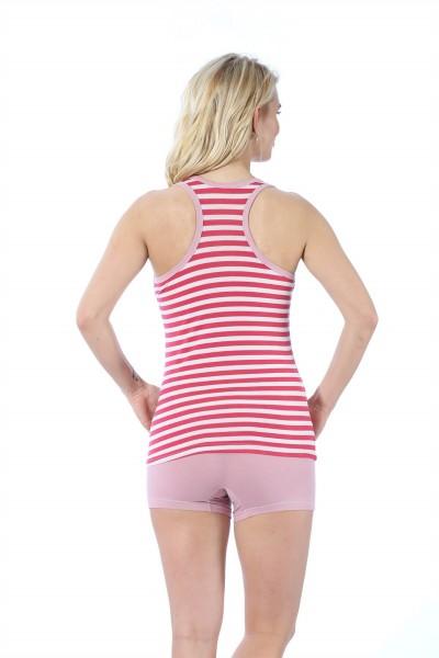Moda Çizgi Kadın Kalın Askılı Mercan Beyaz Renkli Şortlu Pijama Takımı 413 - Thumbnail