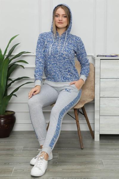 Moda Çizgi - Kadın Pamuk Kapüşonlu Cepli Eşofman Takım 9015