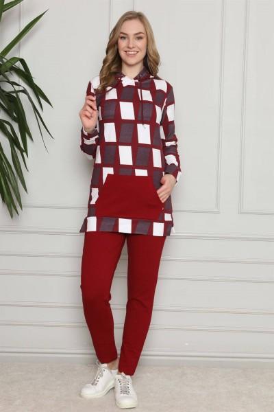 Moda Çizgi - Moda Çizgi Kadın Pamuk Kapşonlu Cepli Eşofman Takım 9024
