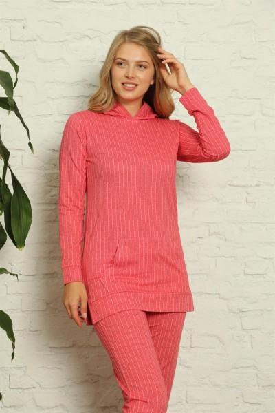 Moda Çizgi - Moda Çizgi Kadın Pamuk Kapşonlu Cepli Eşofman Takım 9027