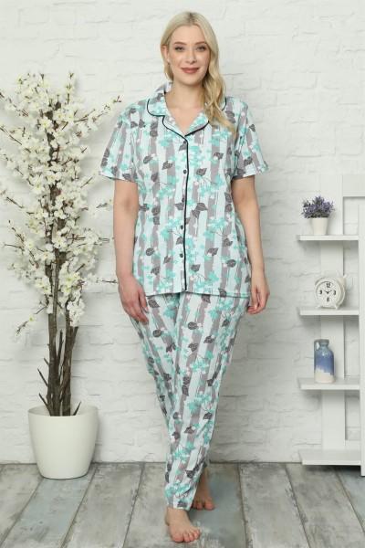 Moda Çizgi - Kadın Pamuklu Cepli Kısa Kol Büyük Beden Pijama Takım 202026