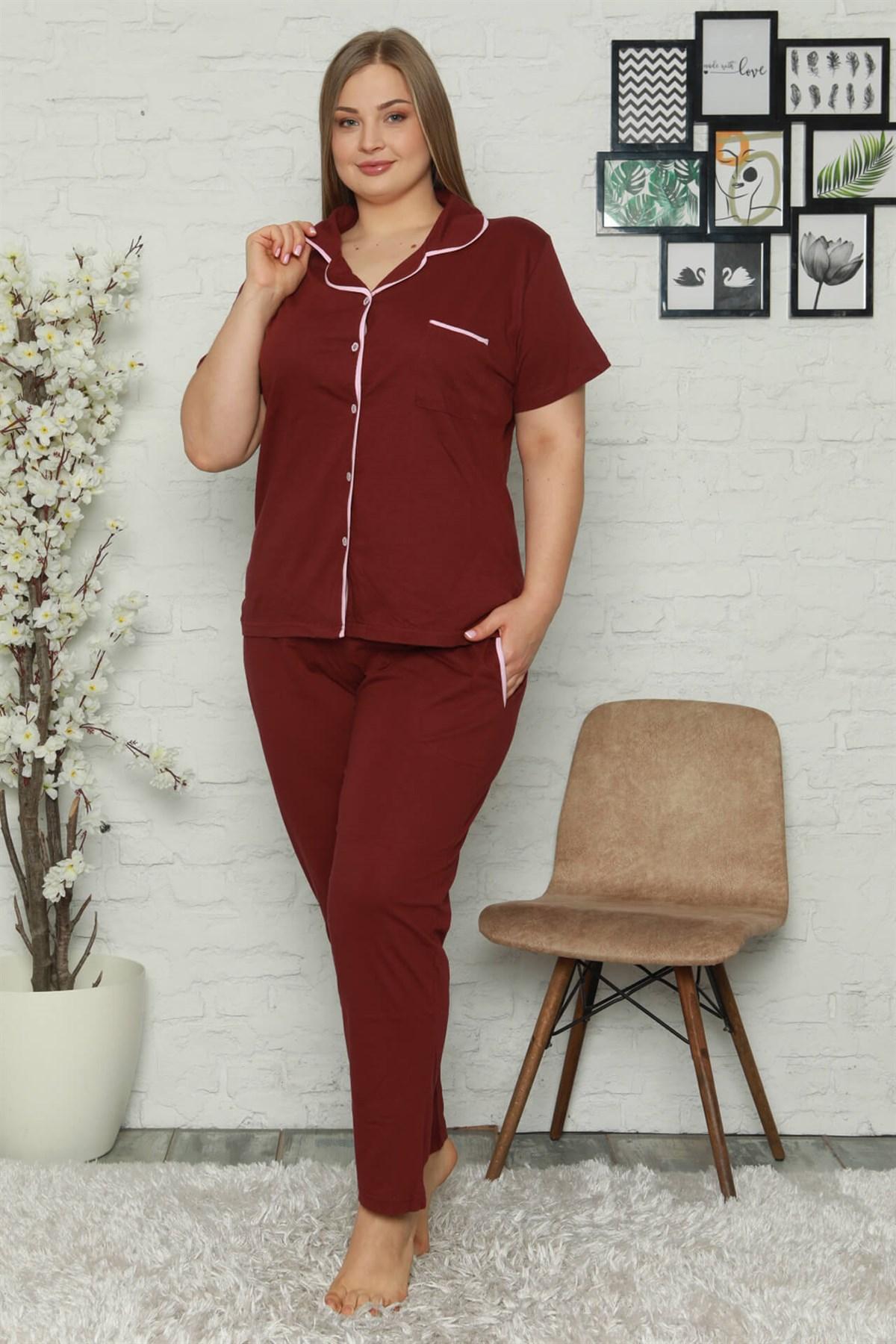 Moda Çizgi Kadın Pamuklu Cepli Kısa Kol Büyük Beden Pijama Takım 202063