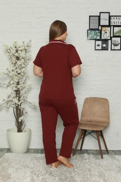 Moda Çizgi Kadın Pamuklu Cepli Kısa Kol Büyük Beden Pijama Takım 202063 - Thumbnail