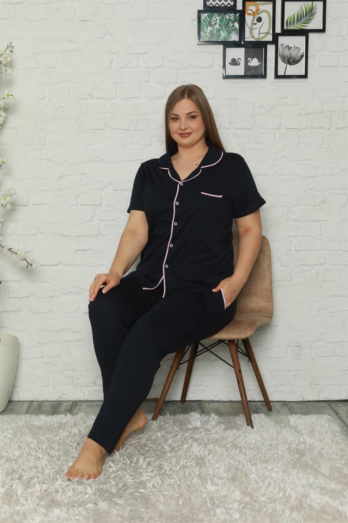 Moda Çizgi Kadın Pamuklu Cepli Kısa Kol Büyük Beden Pijama Takım 202064