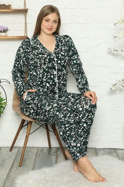 Moda Çizgi Kadın Pamuklu Cepli Uzun Kol Büyük Beden Pijama Takım 202046 - Thumbnail