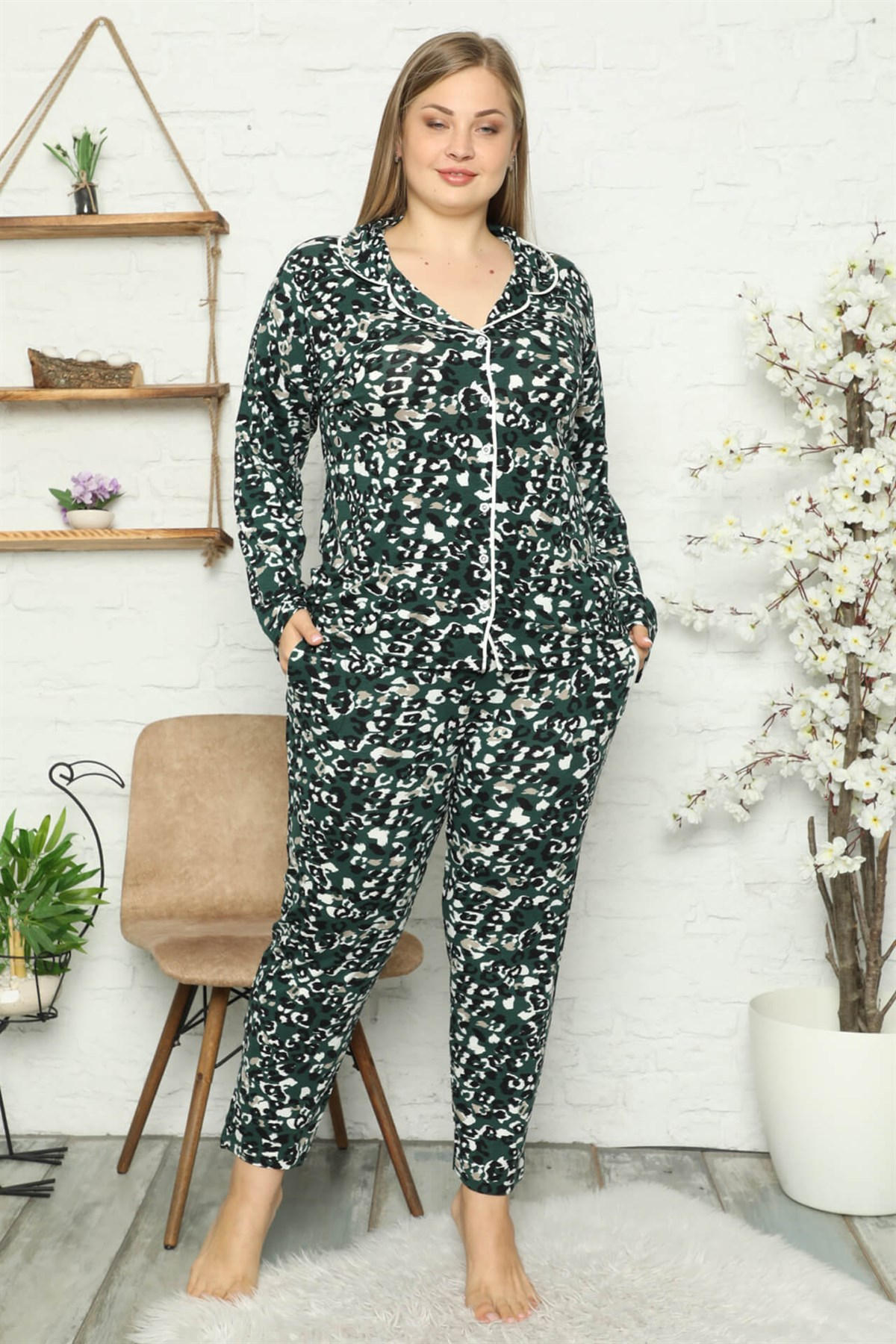 Moda Çizgi Kadın Pamuklu Cepli Uzun Kol Büyük Beden Pijama Takım 202046