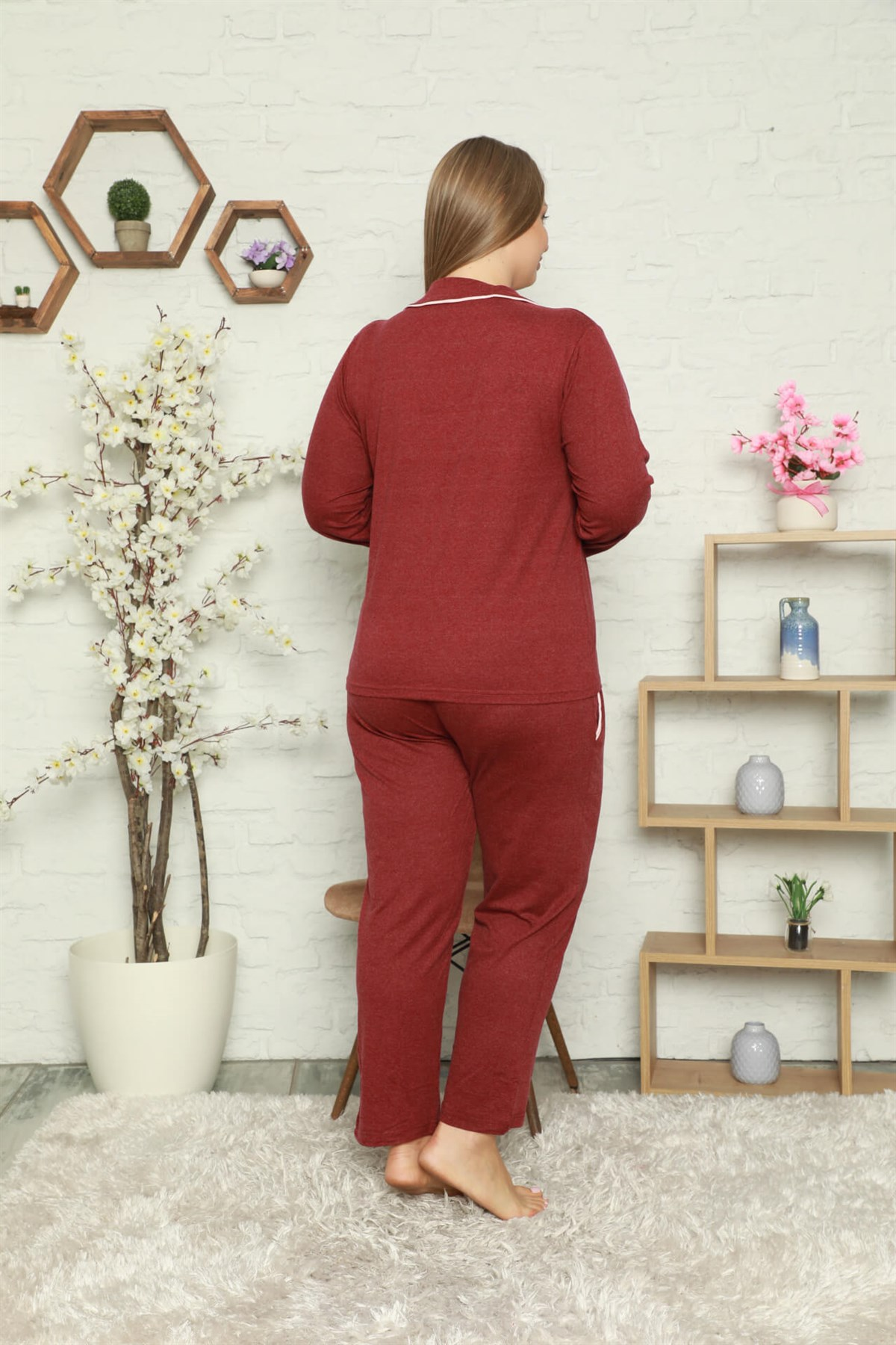 Moda Çizgi Kadın Pamuklu Cepli Uzun Kol Büyük Beden Pijama Takım 202051