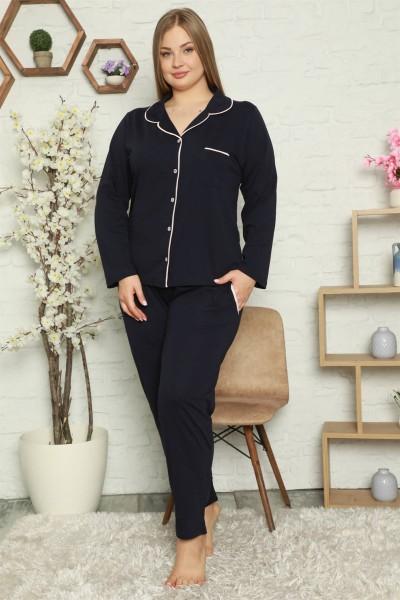 Moda Çizgi - Moda Çizgi Kadın Pamuklu Cepli Uzun Kol Büyük Beden Pijama Takım 202052