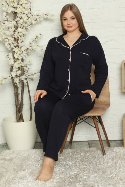 Moda Çizgi Kadın Pamuklu Cepli Uzun Kol Büyük Beden Pijama Takım 202052 - Thumbnail