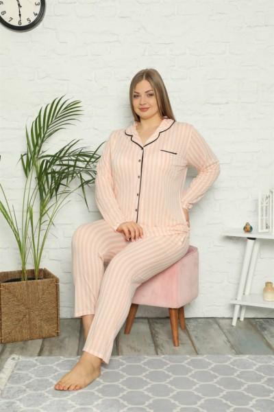 Moda Çizgi Kadın Pamuklu Cepli Uzun Kol Büyük Beden Pijama Takım 202098 - Thumbnail