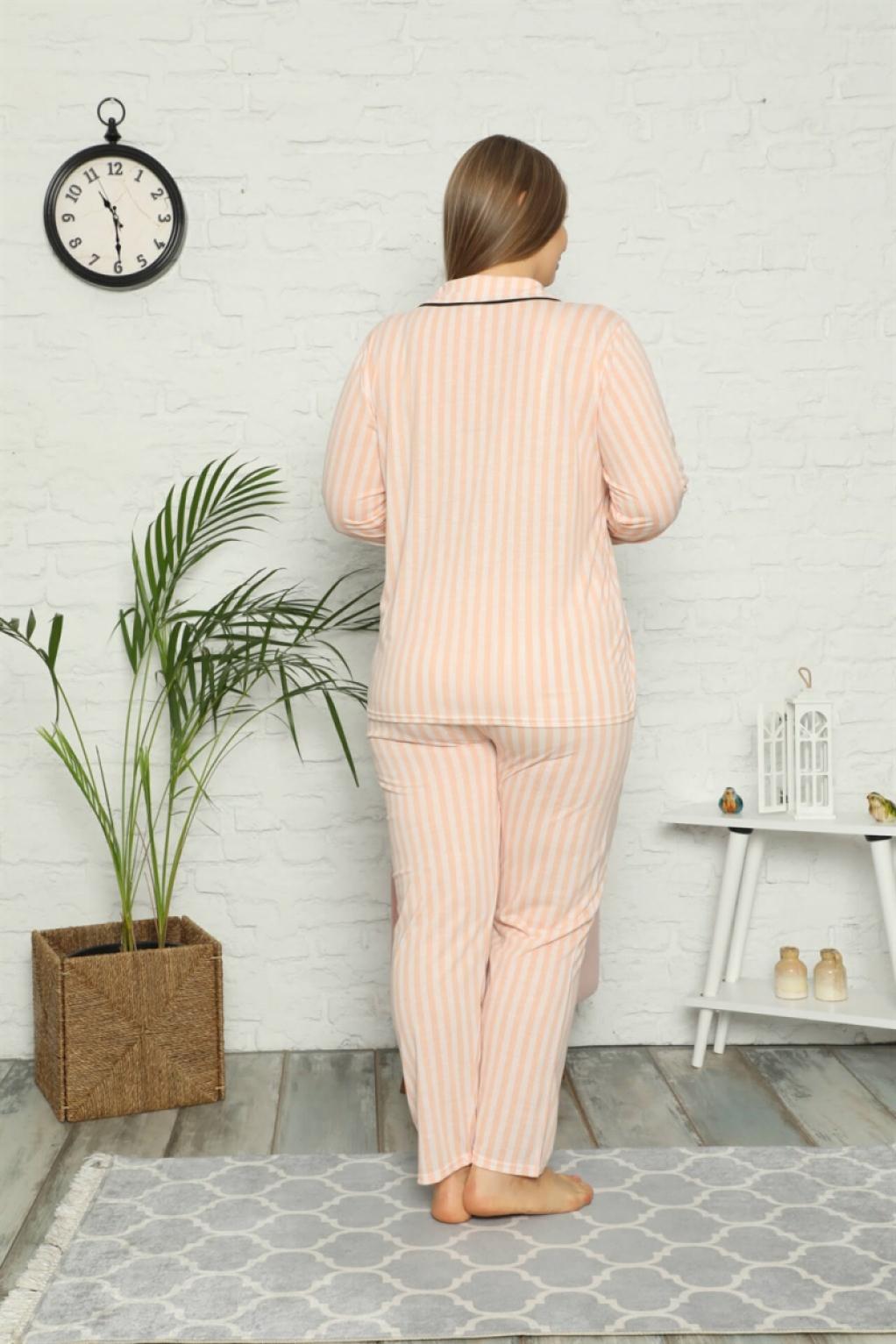 Moda Çizgi Kadın Pamuklu Cepli Uzun Kol Büyük Beden Pijama Takım 202098