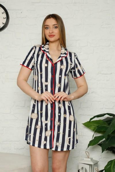 Moda Çizgi Kadın Pamuklu Önden Düğmeli Gecelik 980 - Thumbnail