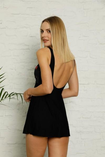 Moda Çizgi Şortlu Likralı Elbise Tesettür Mayo 28184 - Thumbnail