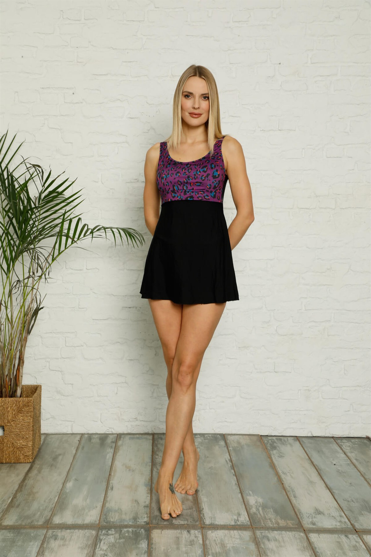 Moda Çizgi Şortlu Likralı Elbise Tesettür Mayo 28187