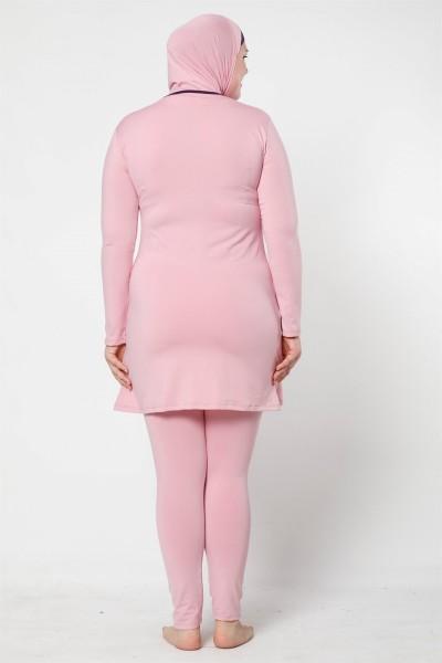 Moda Çizgi Tam Kapalı Taytlı Likralı Büyük Beden Tesettür Mayo 28011 - Thumbnail