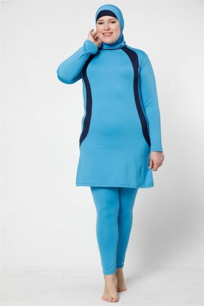 Moda Çizgi - Moda Çizgi Tam Kapalı Taytlı Likralı Büyük Beden Tesettür Mayo 28015
