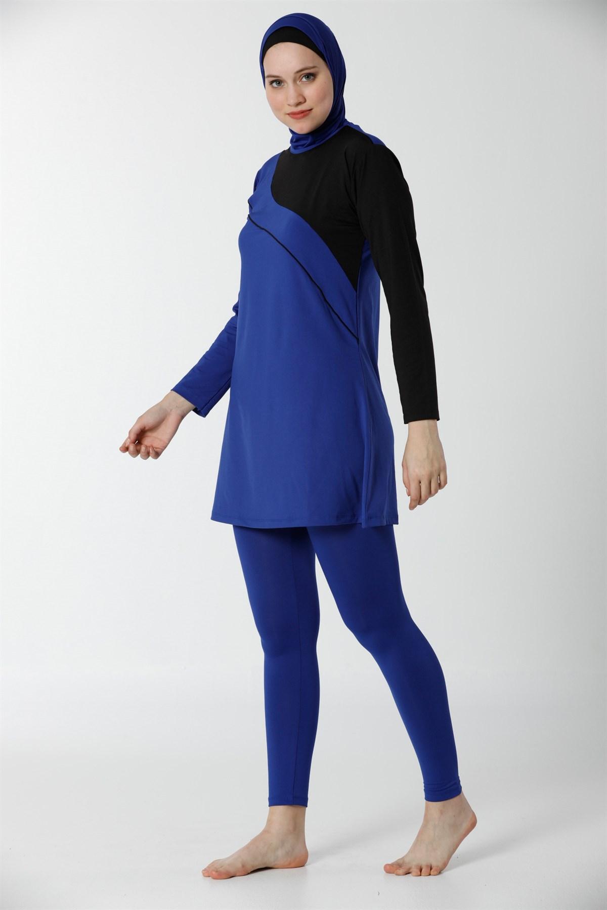 Moda Çizgi Tam Kapalı Taytlı Likralı Tesettür Mayo 28099