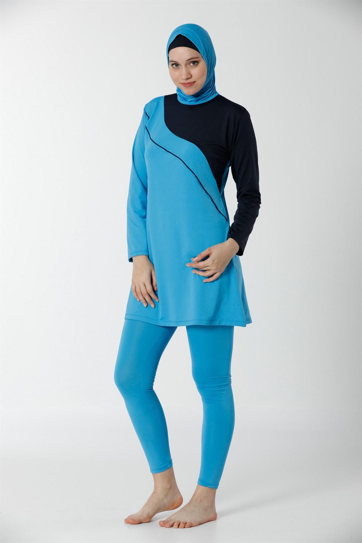 Moda Çizgi Tam Kapalı Taytlı Likralı Tesettür Mayo 28106