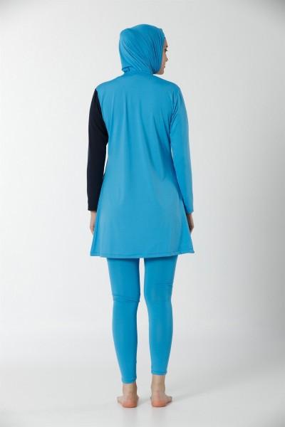 Moda Çizgi Tam Kapalı Taytlı Likralı Tesettür Mayo 28106 - Thumbnail