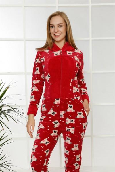 Moda Çizgi - Moda Çizgi Welsoft Polar Kadın Kapşonlu Tulum 8122