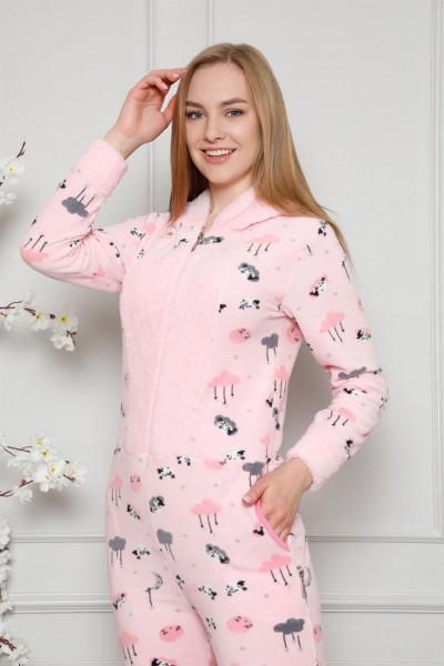 Moda Çizgi - Moda Çizgi Welsoft Polar Kadın Kapşonlu Tulum 8125