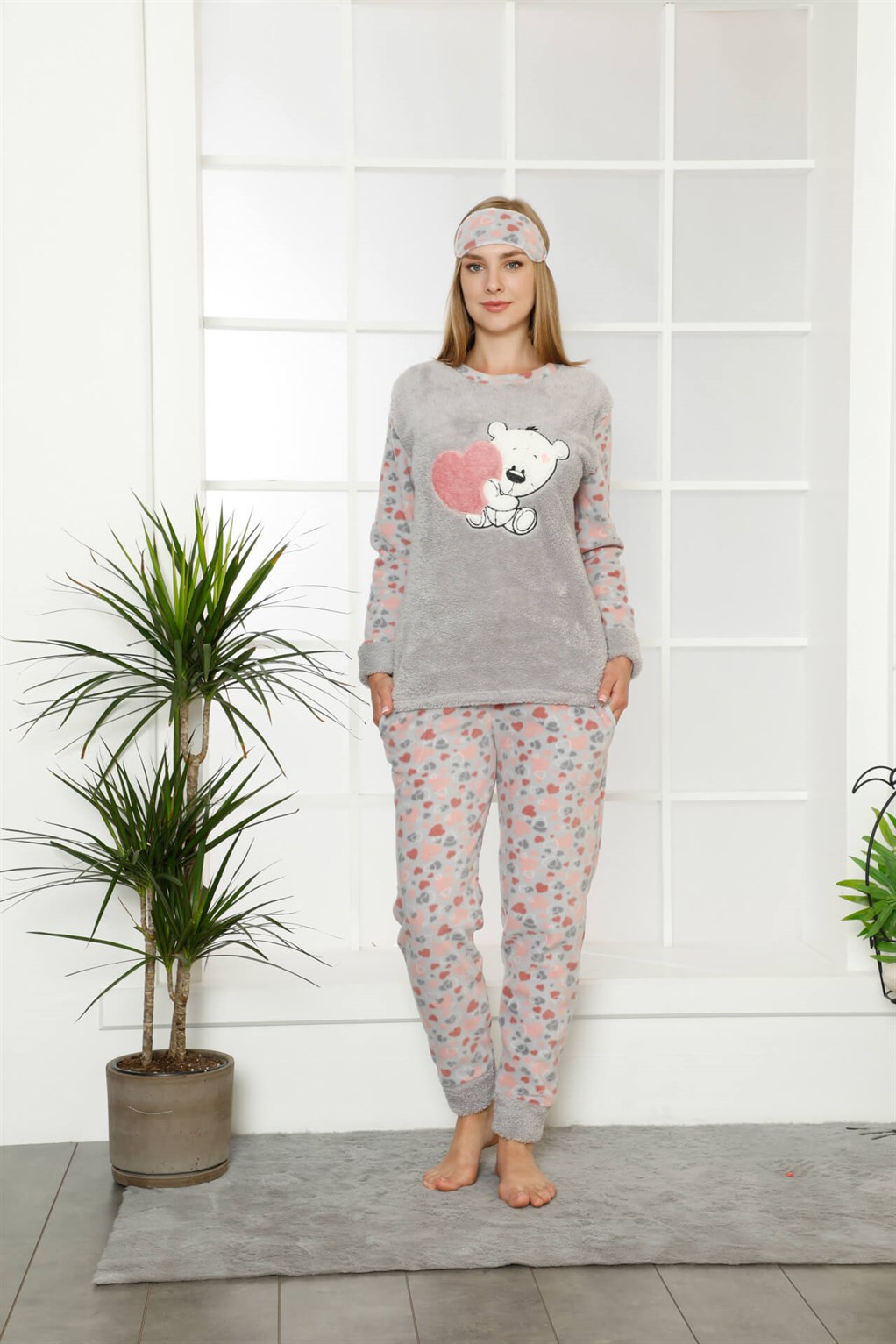 Moda Çizgi Welsoft Polar Kadın Manşetli Pijama Takımı 8402