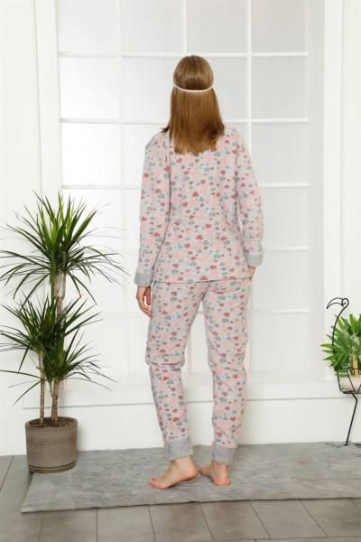 Moda Çizgi Welsoft Polar Kadın Manşetli Pijama Takımı 8402 - Thumbnail
