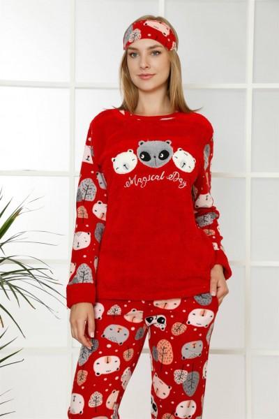 Moda Çizgi - Moda Çizgi Welsoft Polar Kadın Manşetli Pijama Takımı 8405