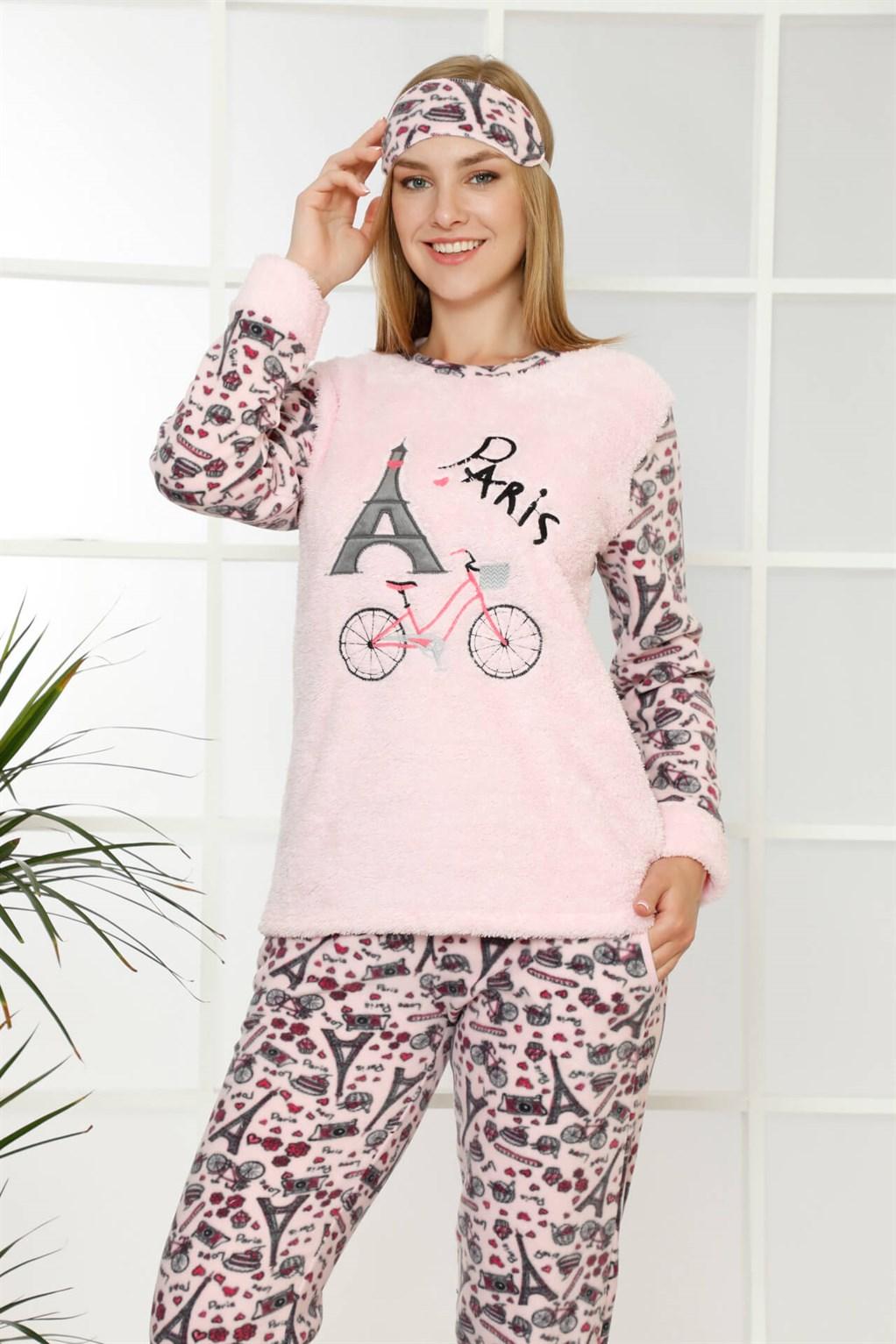 Moda Çizgi Welsoft Polar Kadın Manşetli Pijama Takımı 8408