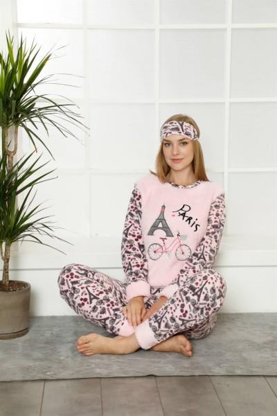 Moda Çizgi Welsoft Polar Kadın Manşetli Pijama Takımı 8408 - Thumbnail