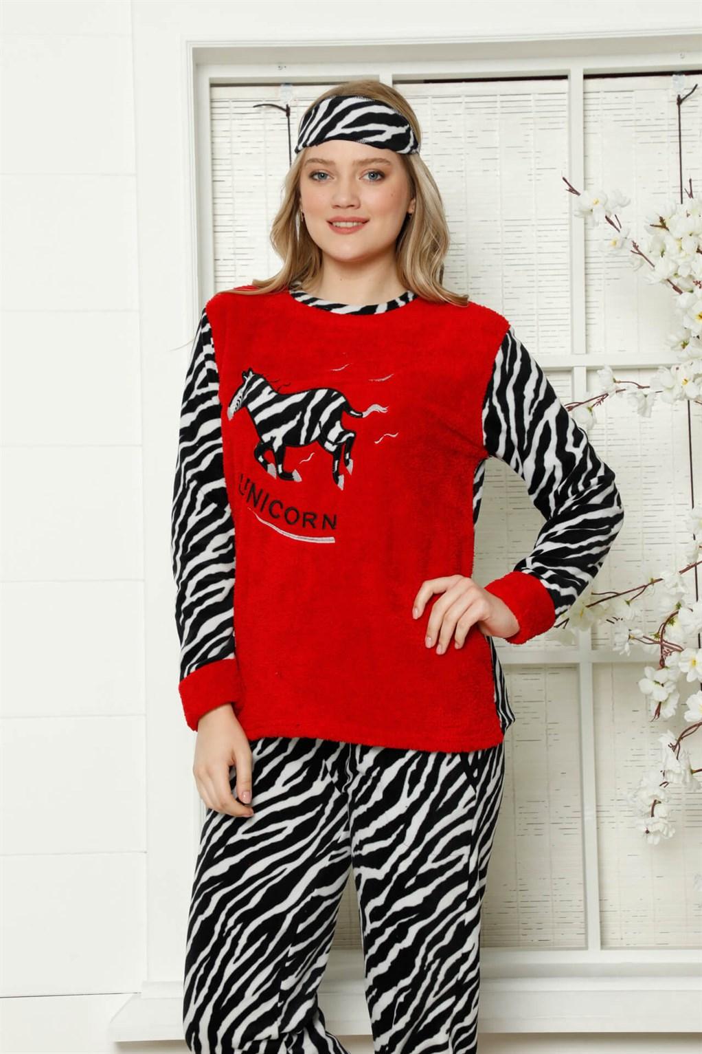 Moda Çizgi Welsoft Polar Kadın Manşetli Pijama Takımı 8413