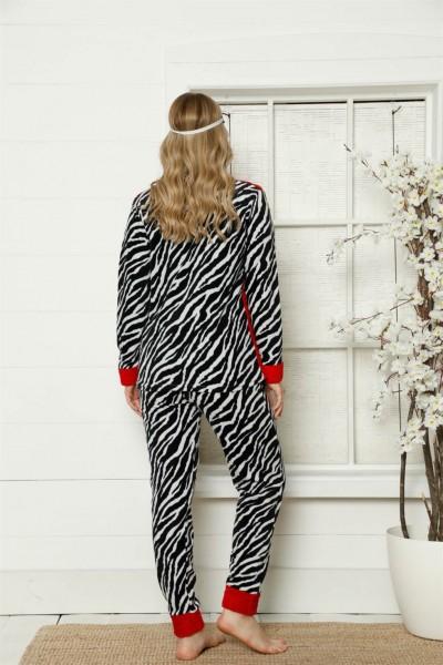 Moda Çizgi Welsoft Polar Kadın Manşetli Pijama Takımı 8413 - Thumbnail